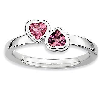 925 Sterling hopea kehys kiillotettu rhodium päällystetty pinottava ilmaisuja vaaleanpunainen tourm. Double Love Heart Ring Korut Lahjat