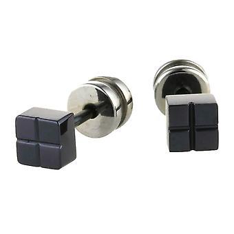 TI2 Titanium Square Ohrstecker - schwarz