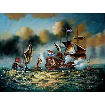 رسم باليد لوحة زيتية على قماش، 90x120 سم