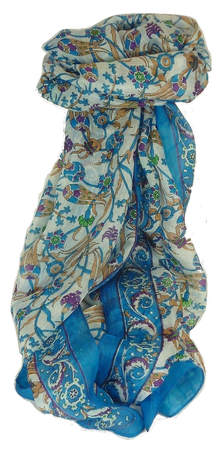 Mulberry Silk Contemporary Long Scarf Mantri Aquamarine by Pashmina & Silk