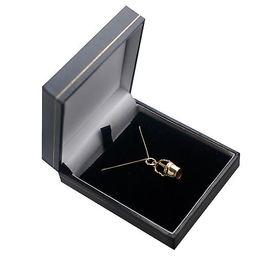 9ct Gold 28x10mm Champagne Bucket Pendant with a curb Chain 20 inches