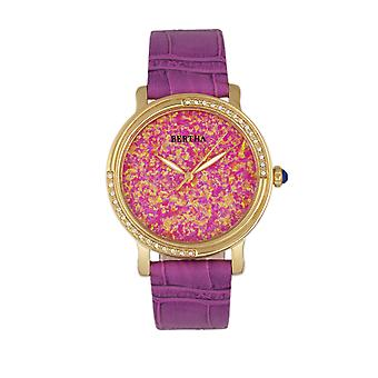 Bertha Courtney Opal Dial Leather-Band Watch - Hot Pink