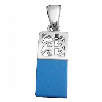 Dainty Sterling Silver Pendant w/ Attention Blue Turquoise Pendant