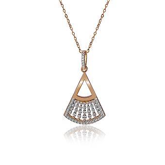 Orphelia 925 Silver hänge med kedja 42 CM med rundade triangel och zirkonium