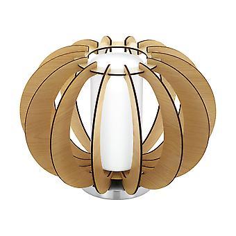 Eglo - Stellato 1 mesa de luz una lámpara en blanco y madera de arce acabado EG95603