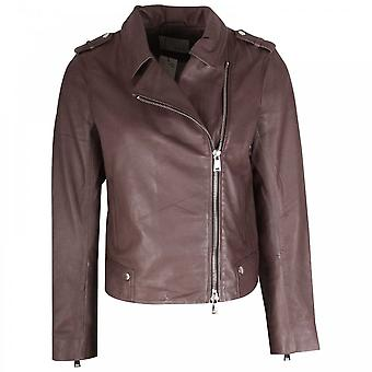 Oui Off Centre Zip Up Leather Jacket