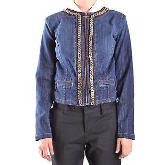 Elisabetta Franchi Ezbc050025 Women's Blue Cotton Outerwear Jacket