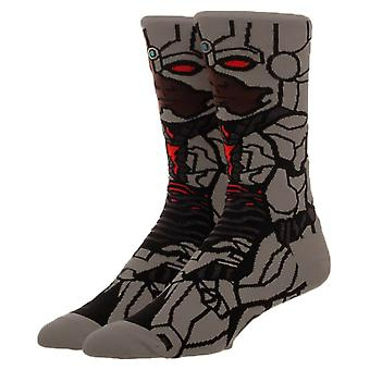 Justice League Cyborg Character Crew Socks-ONE SIZE