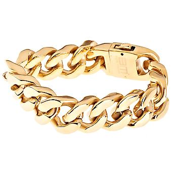 Iced out bling stainless steel bracelet - SOLID CURB 20mm gold