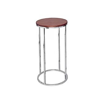 Gillmore Walnut And Silver Metal Contemporary Circular Lamp Table