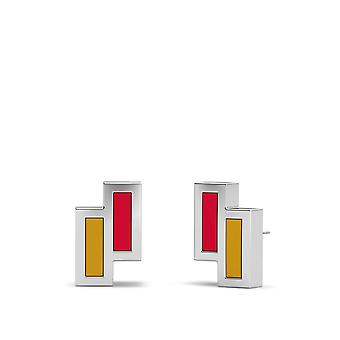 Ottawa Senators Sterling Silver Asymmetric Enamel Stud Earrings In Red & Gold