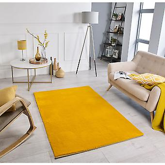 Comfy Mustard Rectangle Rugs Plaine / Presque Plaine Rugs