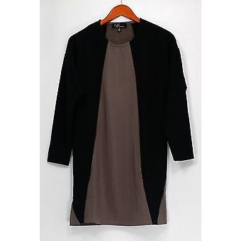 GK George Kotsiopoulos Top 3/4 Sleeve Color Block Black A267497