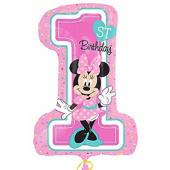 Anagrama Supershape Minnie 1er cumpleaños globo de la hoja