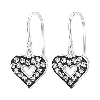 Heart - 925 Sterling Silver Crystal Earrings - W18985X