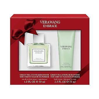 Vera Wang abraço chá verde & Pear Blossom Gift Set 30ml EDT + 75ml loção corporal