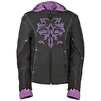 NexGen 女性's ドゥーロン 1300 ナイロン ツイレンツリーフリース ジャケット, ブラック/パープル, サイズ ラージ