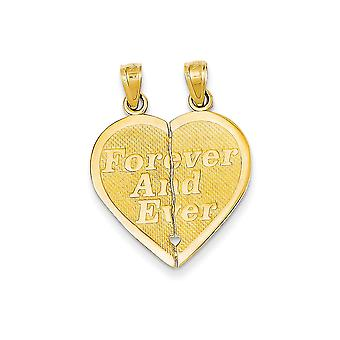 14k Yellow Gold Textured Polished Reversible Forever and Ever Break-apart Heart Pendant - Measures 38.8x46.8mm