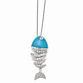 925 Sterling Silver Fancy Lobster Closure Created Simulated Turquoise Enameled Cubic Zirconia Animal Sealife Fish Neckla