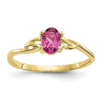 10k Yellow Gold Oval Polished Pink Tourmaline Ring Size 6 Jewelry Gifts for Women