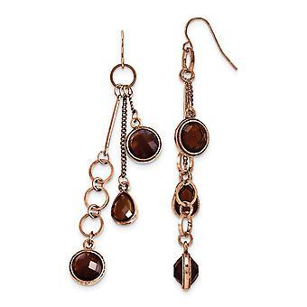 Shepherd hook Copper tone Brown Acrylic Beads Long Drop Dangle Earrings Measures 80x10mm Wide Jewelry Gifts for Women