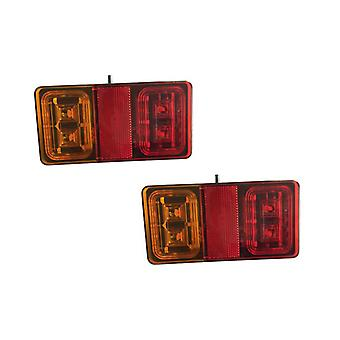 LED Rectangle Trailer Tail Light Pair Vehicle Rear Reflector/Stop/Indicator