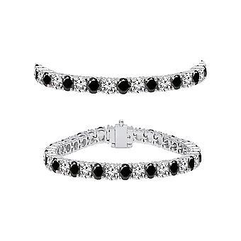 Dazzlingrock Collection 5.00 Carat (ctw) 10K Round Cut Black and White Diamond Ladies Tennis Bracelet 5 CT, White Gold