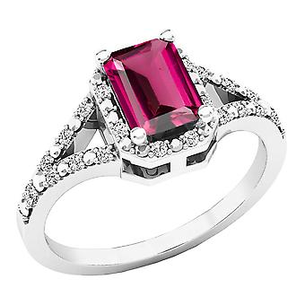 Dazzlingrock Collection Sterling Silver 7X5 MM Lab Created Pink Sapphire & White Diamond Engagement Ring