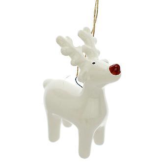 Single 7cm Ceramic Standing Reindeer Christmas Tree Hanging Ornament
