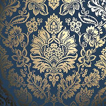 Platinum Metallic Foil Damask Navy & Gold Platinum Luxury Wallpaper