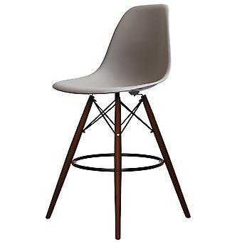 Charles Eames Style Cool Grey Plastikowy stołek barowy - Nogi orzechowe