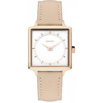 Watch Amalys PILI - Steel IP Rose dial White Leather Bracelet pink P the woman