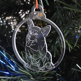 Hund TAND klar Acryl Weihnachten Dekorationen 6pk - Corgi-Gesicht