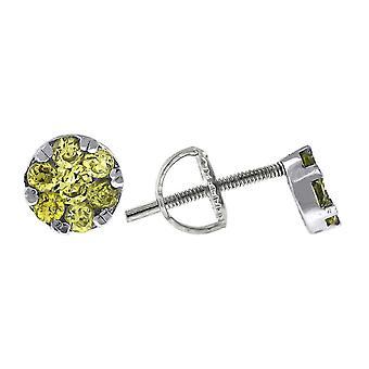 925 Sterling Silber Womens gelb Runde CZ Ohrstecker Blume Mode Ohrringe Maßnahmen 5,5 x 5,5 mm Schmuck Geschenke für Wom