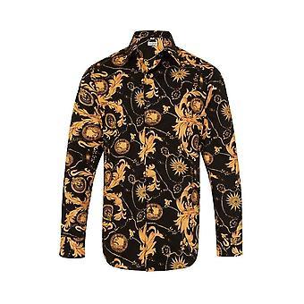 JSS Floral Paisley Preto e Laranja Regular Fit 100% Camisa de Algodão