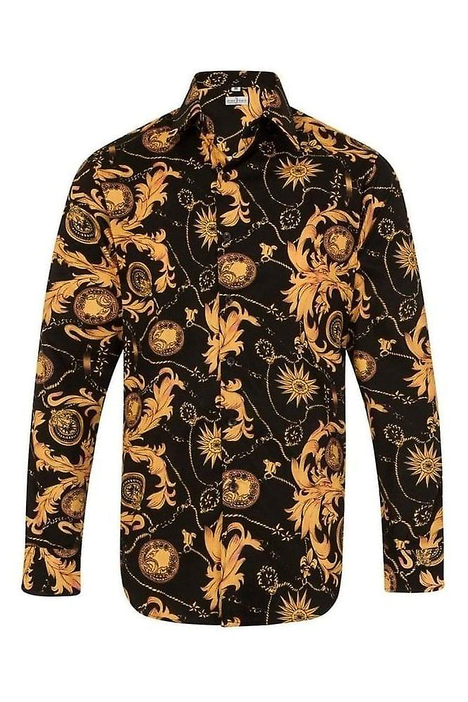 JSS Floral Paisley Black & Orange Regular Fit 100% Cotton Shirt