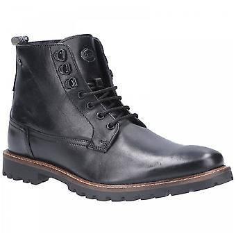 Base London Black Leather Callahan Waxy Lace Up Boots