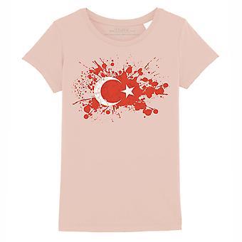 STUFF4 Mädchen's Rundhals T-Shirt/Türkei/türkische Flagge Splat/Coral Pink