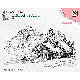 Nellie's Choice clearstamp - Idyllic Floral Scenes landscape with cottage IFS015 140x83mm