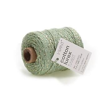 Vivant Cord Cotton Lurex Twist olive green / gold - 50 MT 2MM