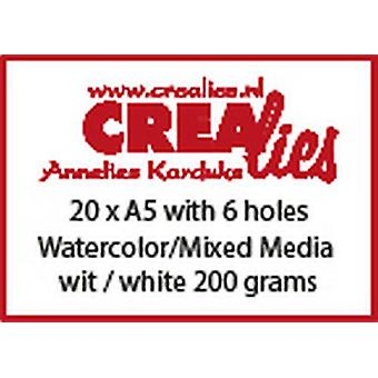 Crealies Basis A5 watercolor 200 grm (20x) CLBS204 A5 with 6 holes