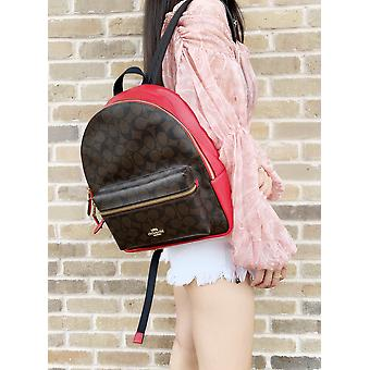 Coach f32200 signature coated canvas medium charlie backpack brown true red