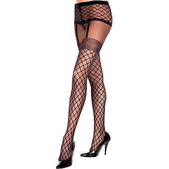 Tights With Fishnet Suspender Look-Black
