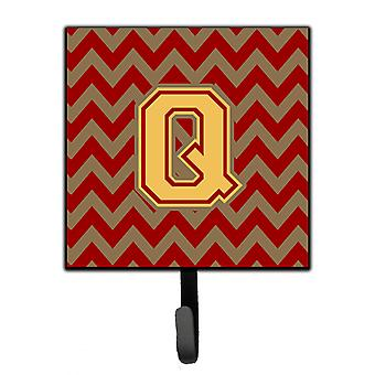 Brev Q Chevron Garnet och Guld koppel eller nyckelhållare