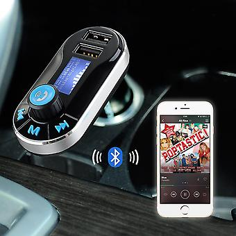 Samsung Galaxy S7 Edge 5 in 1 Wireless Bluetooth Car Kit Modulator with Music Player FM Transmitter, Dual USB Car Charger, Support SD/TF Card, Music Control, Hands-Free Calling