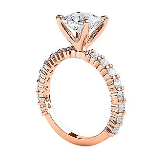 2.2 carat F SI1 diamant Engagement Ring 14K Rose Gold Solitaire w accenter 4 stikben fantastiske