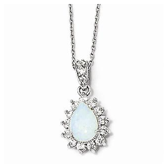 925 Sterling Silver Fancy Lobster Closure Cubic Zirconia Synthetic Simulated Opal Pear Shaped Necklace 18 Inch Jewely G