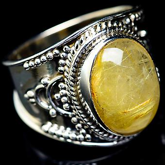Rutilated Quartz Ring Size 8 (925 Sterling Silver)  - Handmade Boho Vintage Jewelry RING5791
