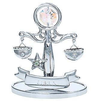 Crystocraft Libra Zodiac Sign Crystal Ornament With Swarovski Elements Gift Boxed Aurora Borealis Crystals Silver Chrome Plated Perfect Keepsake Collectors Gift Figurine Home Decor Astrology