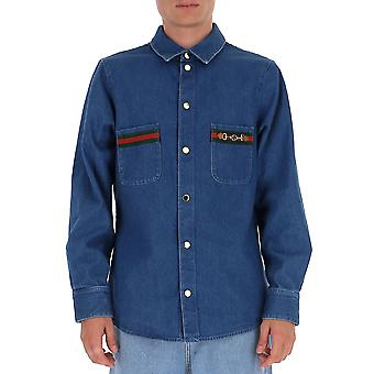 Gucci 626480xdbcg4447 Men's Blue Cotton Shirt
